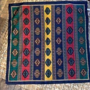 """31""""x31"""" polyester scarf - gold, blue, red, green"""